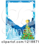 Clipart Of A Happy Christmas Tree Character In A Winter Village With Text Space Royalty Free Vector Illustration