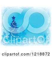 Clipart Of A Blue Background With A Christmas Tree And Faded Borders Royalty Free Vector Illustration
