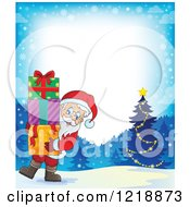 Clipart Of A Border With Santa Carrying Gifts In The Snow Royalty Free Vector Illustration