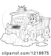 Clipart Of An Outlined Happy Snow Plough Driver Waving Royalty Free Vector Illustration by visekart