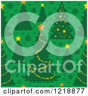 Clipart Of A Seamless Christmas Pattern With Trees On Green Royalty Free Vector Illustration