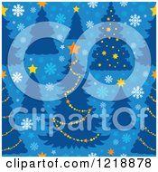 Clipart Of A Seamless Christmas Pattern With Trees On Blue Royalty Free Vector Illustration