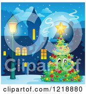 Clipart Of A Happy Christmas Tree Character In A Winter Village Royalty Free Vector Illustration