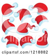 Clipart Of Red Santa Hats Royalty Free Vector Illustration