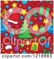 Clipart Of A Seamless Christmas Pattern With Trees Gifts And Ornaments On Red Royalty Free Vector Illustration
