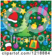 Clipart Of A Seamless Christmas Pattern With Trees Gifts And Ornaments On Green Royalty Free Vector Illustration
