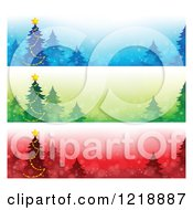 Clipart Of Blue Green And Red Christmas Tree Website Banners Royalty Free Vector Illustration