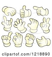 Clipart Of Cartoon Hands Gesturing Royalty Free Vector Illustration by visekart
