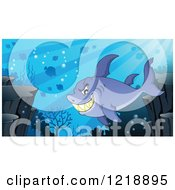 Clipart Of A Grinning Shark In A Reef Royalty Free Vector Illustration