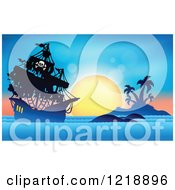 Clipart Of A Pirate Ship Against A Tropical Sunset Royalty Free Vector Illustration