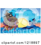 Clipart Of A Giant Octopus Eating A Pirate Ship Against A Tropical Sunset Royalty Free Vector Illustration