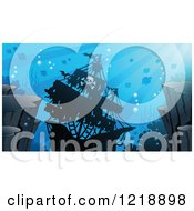 Clipart Of A Sunken Pirate Ship In A Reef Royalty Free Vector Illustration