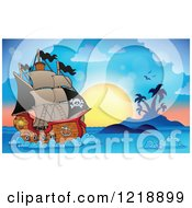 Clipart Of A Sailing Pirate Ship Against A Tropical Sunset Royalty Free Vector Illustration