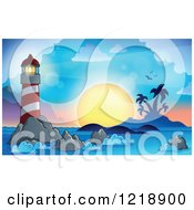 Clipart Of A Lighthouse And Beacon At Sunset Royalty Free Vector Illustration