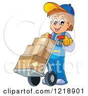 Clipart Of A Happy Delivery Worker Boy With Boxes On A Dolly Royalty Free Vector Illustration