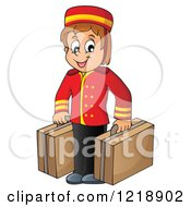 Clipart Of A Happy Hotel Bellhop Worker Boy With Luggage Royalty Free Vector Illustration