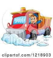 Clipart Of A Happy Snow Plow Driver Waving Royalty Free Vector Illustration