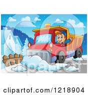 Clipart Of A Happy Snow Plow Driver Waving And Working Royalty Free Vector Illustration by visekart