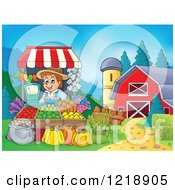 Clipart Of A Happy Farmer Selling Produce At A Stand On A Farm Royalty Free Vector Illustration