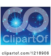 Clipart Of A Blue Fireworks Background Royalty Free Vector Illustration