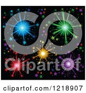 Clipart Of A Colorful Stars And Fireworks Background Royalty Free Vector Illustration