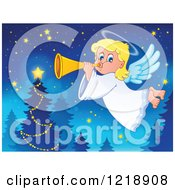 Clipart Of A Cute Christmas Angel Girl Blowing A Horn By A Tree Royalty Free Vector Illustration