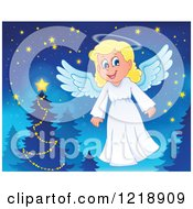 Clipart Of A Cute Christmas Angel By A Tree Royalty Free Vector Illustration by visekart