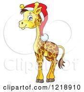 Clipart Of A Cute Baby Christmas Giraffe Wearing A Santa Hat Royalty Free Vector Illustration