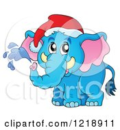 Clipart Of A Cute Christmas Elephant Squirting Water Royalty Free Vector Illustration