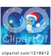 Clipart Of A Christmas Bluebird Flying Near A Forest Tree At Night Royalty Free Vector Illustration