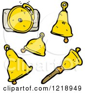Cartoon Of Golden Bells Royalty Free Vector Illustration by lineartestpilot