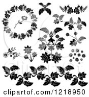 Clip Art Of Flowers And Leaves Royalty Free Vector Illustration