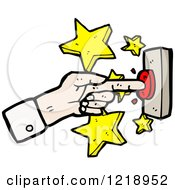 Cartoon Of A Finger Pushing Button Royalty Free Vector Illustration