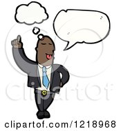 Cartoon Of A Businessman Thinking And Speaking Royalty Free Vector Illustration