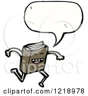 Cartoon Of A Speaking Running Book Royalty Free Vector Illustration by lineartestpilot