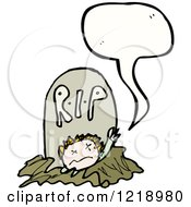 Cartoon Of The Speaking Undead Coming From The Grave Royalty Free Vector Illustration by lineartestpilot