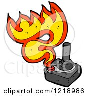 Cartoon Of A Flaming Joystick Royalty Free Vector Illustration by lineartestpilot