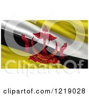 Clipart Of A 3d Waving Flag Of Brunei With Rippled Fabric Royalty Free Illustration