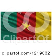 Clipart Of A 3d Waving Flag Of Cameroon With Rippled Fabric Royalty Free Illustration