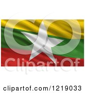 Clipart Of A 3d Waving Flag Of Myanmar With Rippled Fabric Royalty Free Illustration