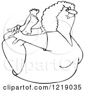Clipart Of An Outlined Flexible Woman In A Rock Belly Stretch Pose Royalty Free Vector Illustration by djart