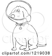 Clipart Of An Outlined Sitting Dog Wearing An Elizabethan Colar Cone Royalty Free Vector Illustration