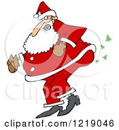 Clipart Of Santa Farting Christmas Trees Royalty Free Vector Illustration