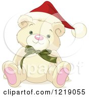 Clipart Of A Cute Christmas Teddy Bear Wearing A Santa Hat Royalty Free Vector Illustration