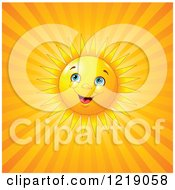 Clipart Of A Happy Sun Shining Over Orange Rays Royalty Free Vector Illustration