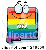 Clipart Of A Gay Rainbow State Of New Mexico Character Royalty Free Vector Illustration