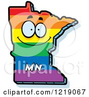 Clipart Of A Gay Rainbow State Of Minnesota Character Royalty Free Vector Illustration