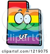 Clipart Of A Gay Rainbow State Of Utah Character Royalty Free Vector Illustration