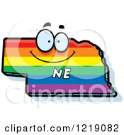 Clipart Of A Gay Rainbow State Of Nebraska Character Royalty Free Vector Illustration by Cory Thoman