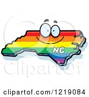 Clipart Of A Gay Rainbow State Of North Carolina Character Royalty Free Vector Illustration